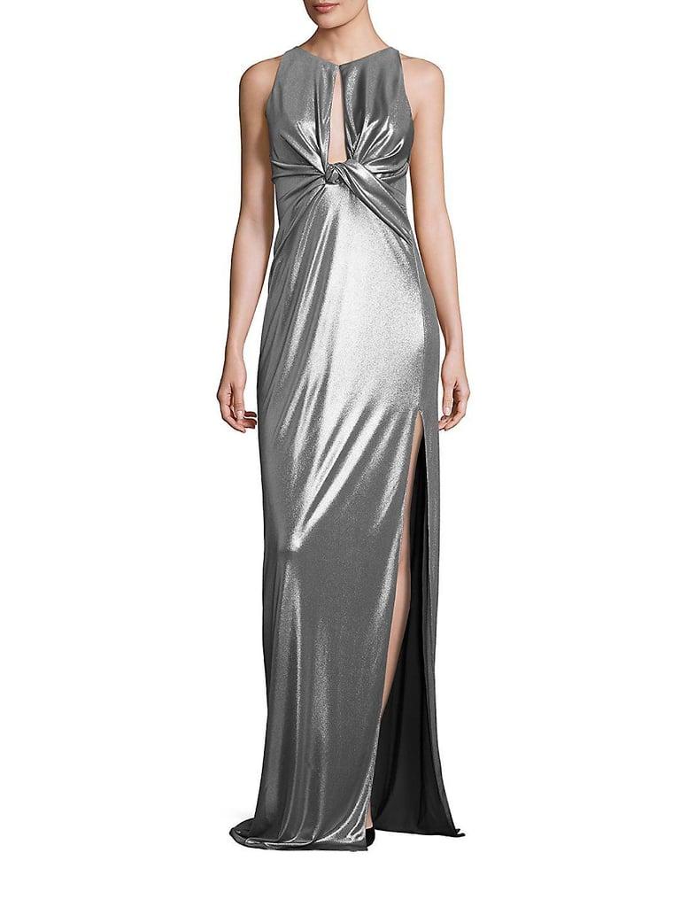 Halston Metallic Jersey Cutout Gown | Angelina Jolie Silver Versace ...