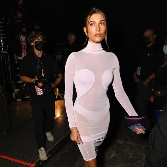 See Hailey Bieber's MTV VMAs Alaïa Dress and Feathered Pants
