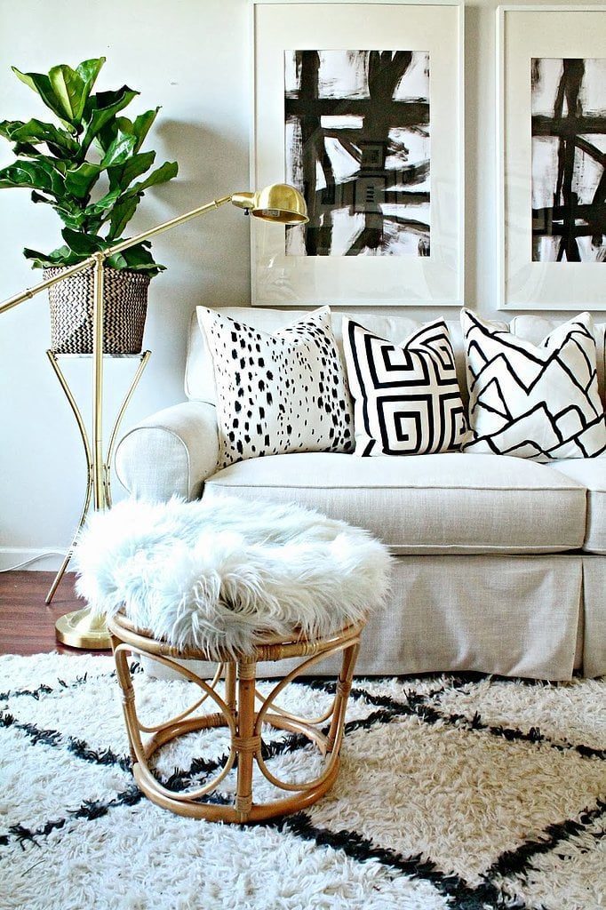 Burlap and Lace gave plain pillow covers a designer look using fabric paint. The total cost? Less than $15!  Source: Burlap and Lace