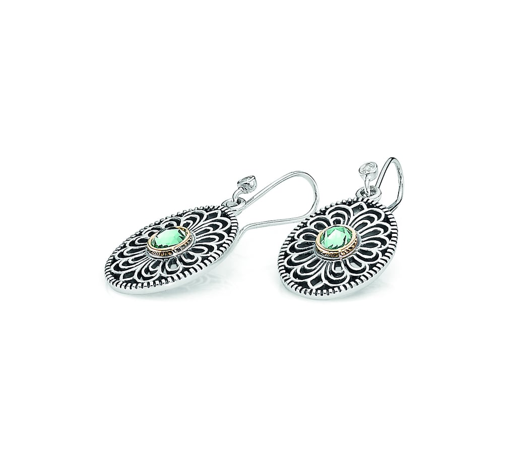 Vintage lace earring pendants, $299, with sterling silver hooks with cubic zirconia, $25.
