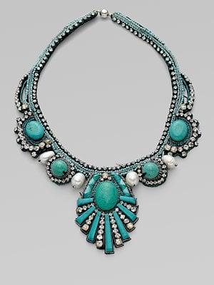 Ranjana Khan Turquoise & Pearl Sunburst Necklace ($615)