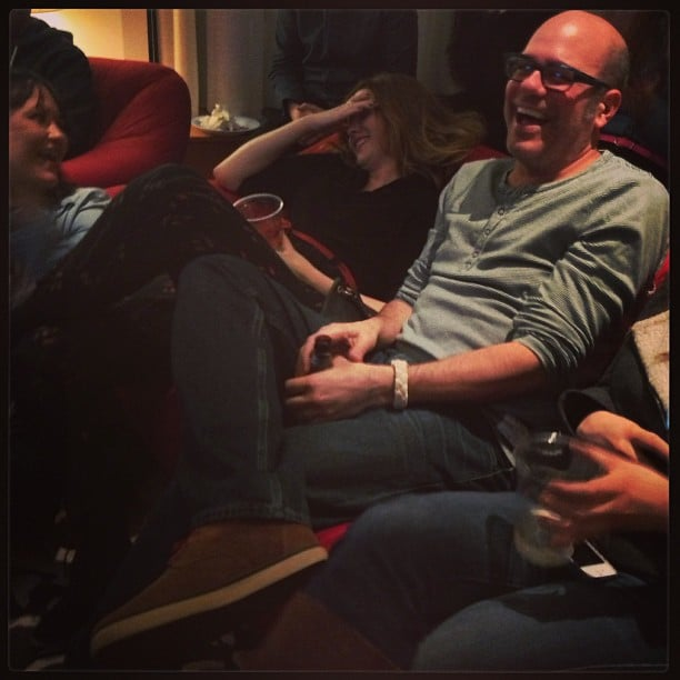 Amber Tamblyn and husband David Cross cracked up during an Oscars viewing party. Source: Instagram user questlove