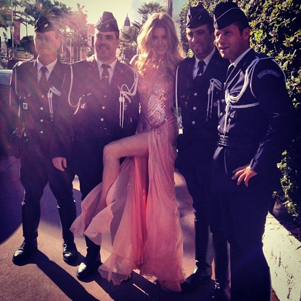 Doutzen Kroes posed with a group of French police officers before hitting the red carpet at the Cannes Film Festival. Source: Instagram user doutzenkroes1
