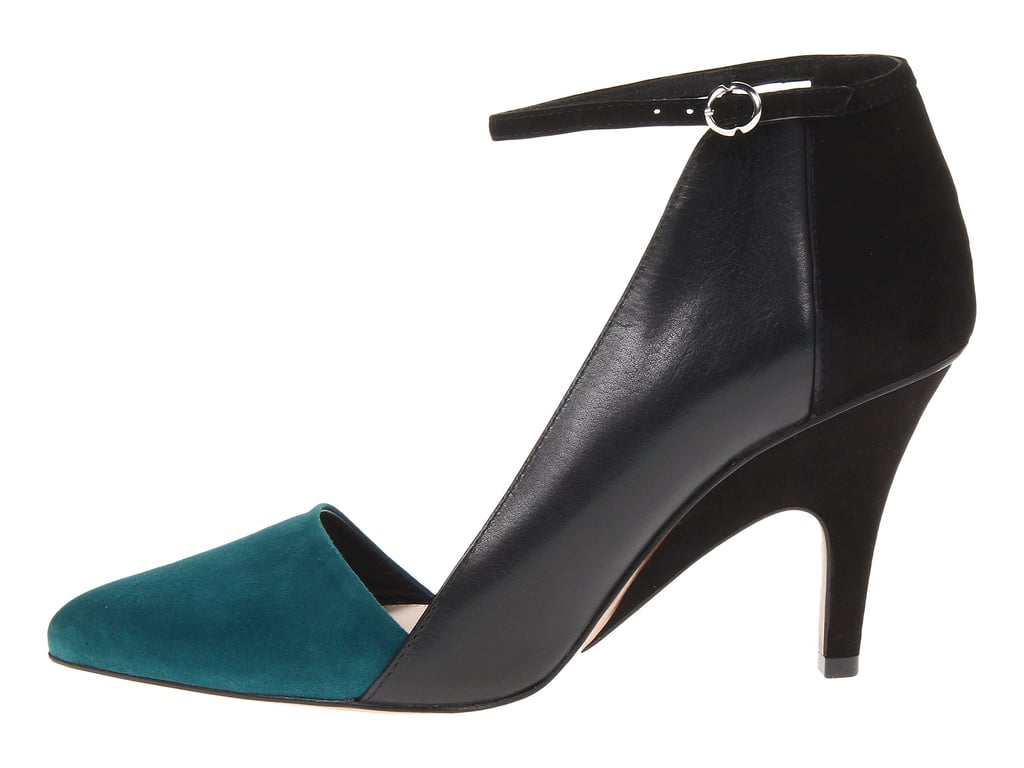 The teal cap toe isn't the only fun part of this low-heeled pump ($295). It's open on the other side, flashing some extra skin!