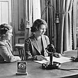 Elizabeth let her younger sister say a few words during her first public broadcast in 1940.