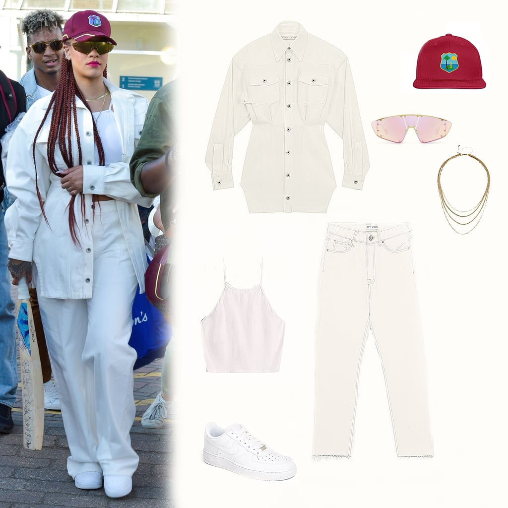 Rihanna Wearing a Baseball Cap and White Jeans