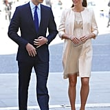 While pregnant, she attended a service celebration for the queen's 60th coronation anniversary in London wearing a nude Jenny Packham dress with a matching coat and L.K. Bennett heels.