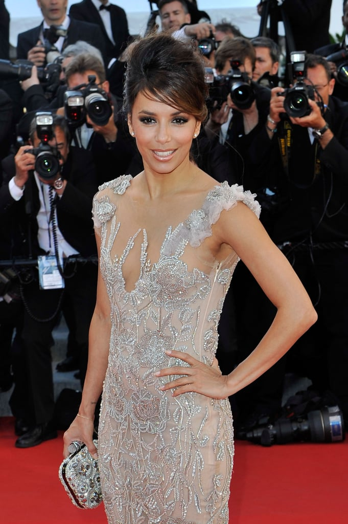 Eva Longoria sparked in a silver and nude gown at the opening ceremonies of the Cannes Film Festival.