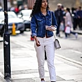 With a Blue Denim Jacket and White Sneakers