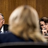Senator Chuck Grassley of Iowa and Senator Dianne Feinstein of California listen to Ford.