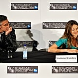 George Clooney rested his chin on his hand while Shailene Woodley took a question about The Descendants.