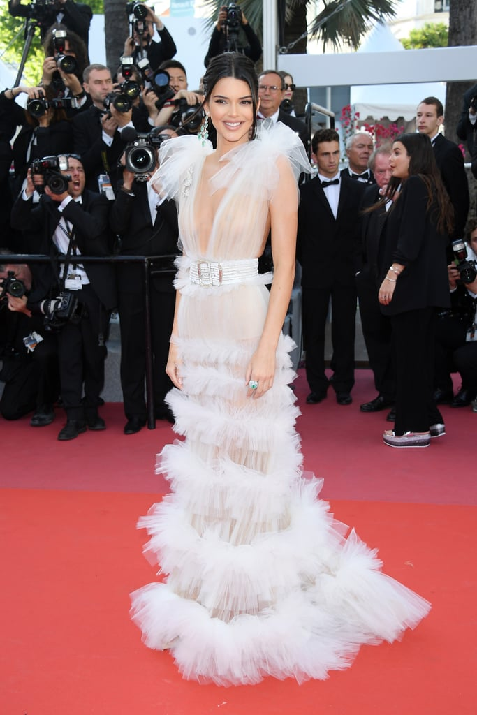 Kendall Jenner White Sheer Gown Cannes 2018 | POPSUGAR Fashion
