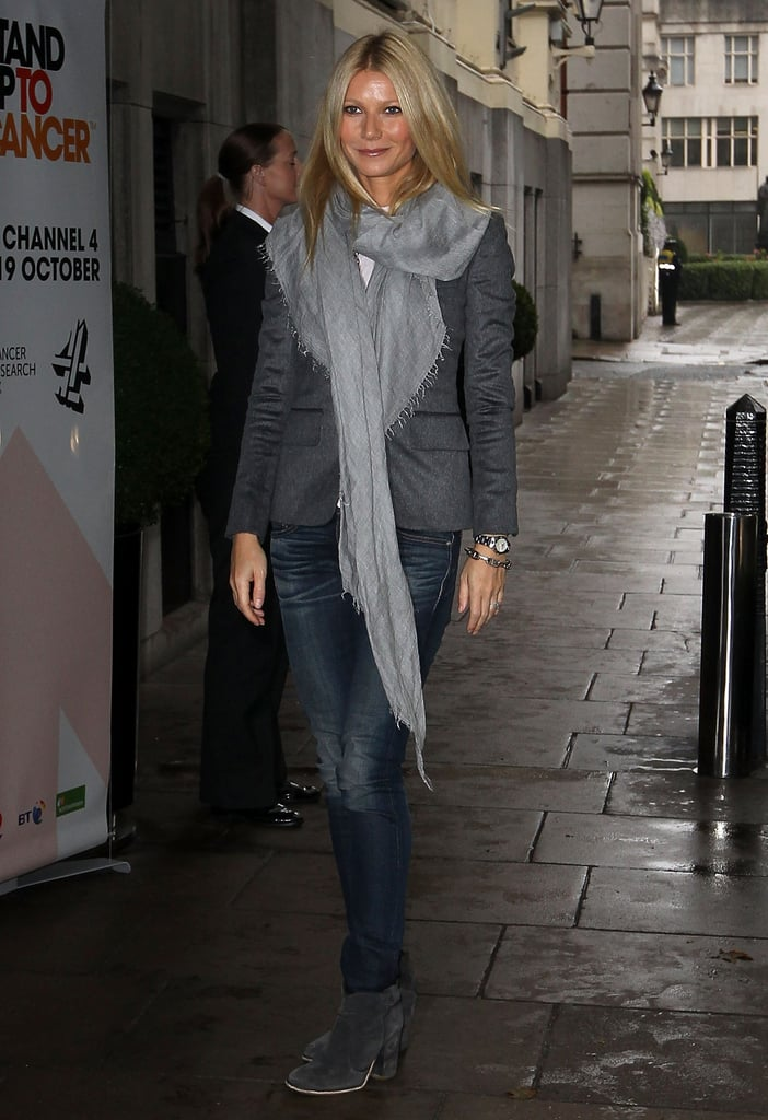 """Gwyneth Paltrow showed her support at a Stand Up to Cancer event at The Savoy in London yesterday. She's involved in the charity after losing her father to cancer in 2002. Gwyneth said at the fundraiser, """"I am all too aware of the impact this disease has on a family. I am so proud to be standing up to cancer for my dad."""" It's the second time this month that Gwyneth has stepped out for Stand Up to Cancer, since she also attended the annual telecast in LA with stars like Robert Pattinson, Jessica Biel, and Julia Roberts. She's been in the spotlight for her acting work as well, having hit the red carpet at the Toronto International Film Festival to promote Thanks For Sharing."""