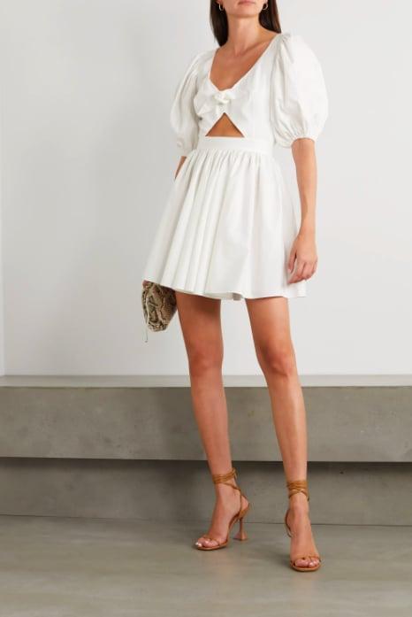 ROTATE Birger Christensen Marie Tie-Front Cutout Organic Cotton-Poplin Mini Dress ($361.25)