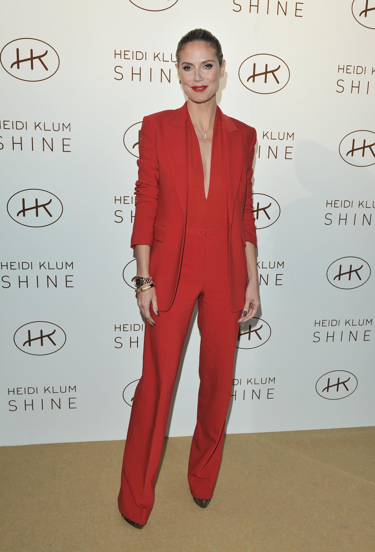 Heidi Klum in a Red Michael Kors Suit in 2012