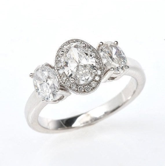 Three Diamond Centre Engagement Ring