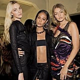 Gigi posed backstage at Versace with supermodels Joan Smalls and Carol Trentini.