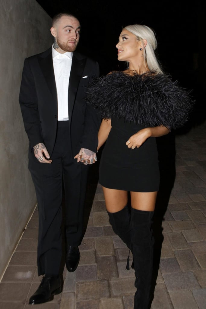 Ariana Grande is slowly stepping back into the spotlight. Nearly six months after performing during A Concert for Charlottesville, the singer made a rare public appearance with her boyfriend Mac Miller on Sunday night. The couple was spotted holding hands as they made their way to Madonna's Oscars afterparty in LA. While the rapper donned a black suit for the occasion, Ariana rocked a little black dress, knee-high boots, and platinum blond hair. They even took a cute photo together inside, which she shared on her Instagram story.  The sweet appearance is certainly a treat for dedicated Arianators, as the singer has been visibly absent from the spotlight in recent months. Aside from staying quiet on social media, she recently backed out of her performance at the 2018 BRIT Awards because of an illness. She was originally going to pay tribute to the victims of the Manchester terror attack, but Liam Gallagher stepped in instead.       Related:                                                                                                           23 Times Ariana Grande and Mac Miller Weren't Shy About Showing PDA