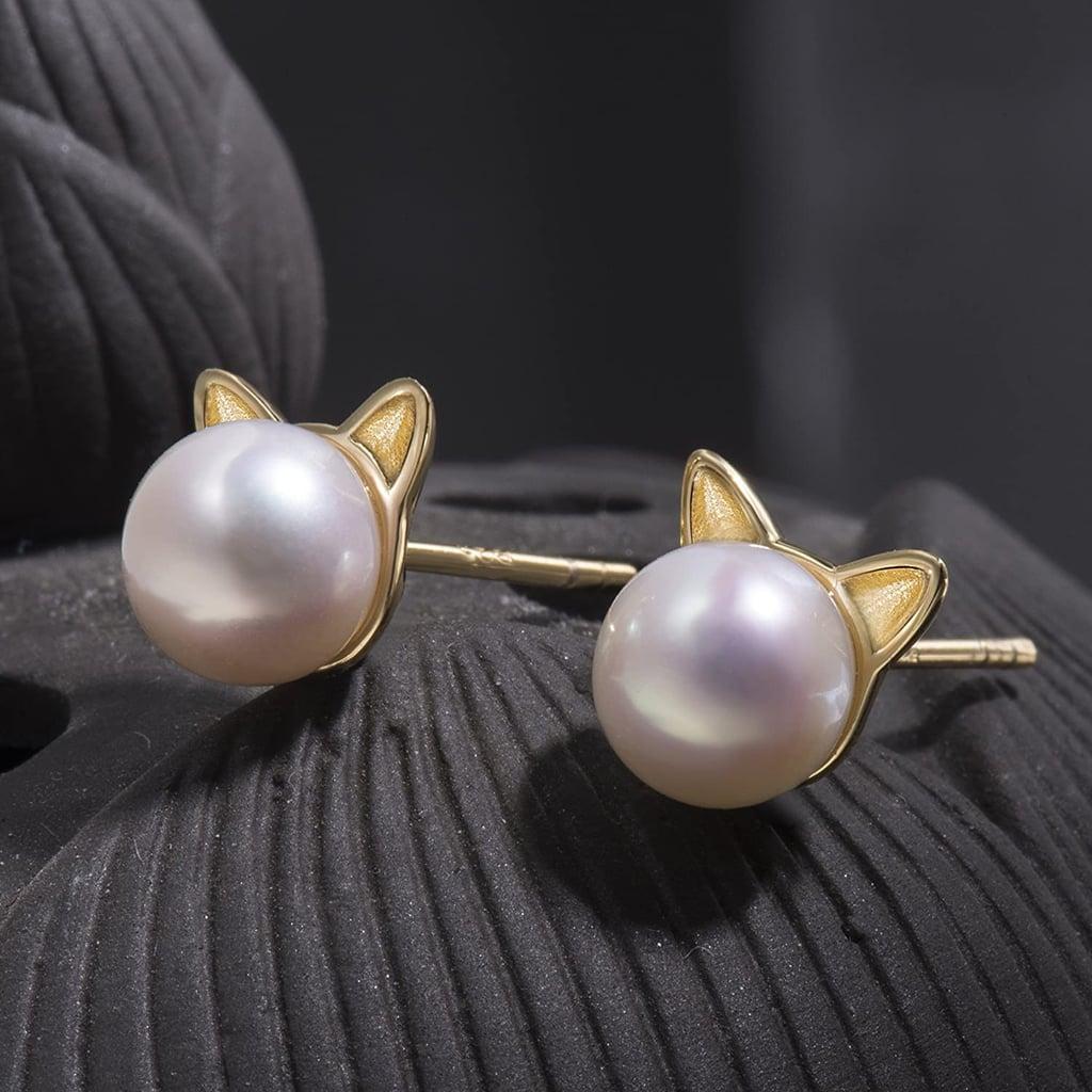 S. Leaf Cat Pearl Earrings