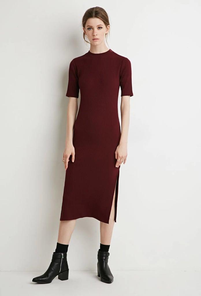 Forever 21 Contemporary Ribbed Side-Slit Midi Dress ($20)