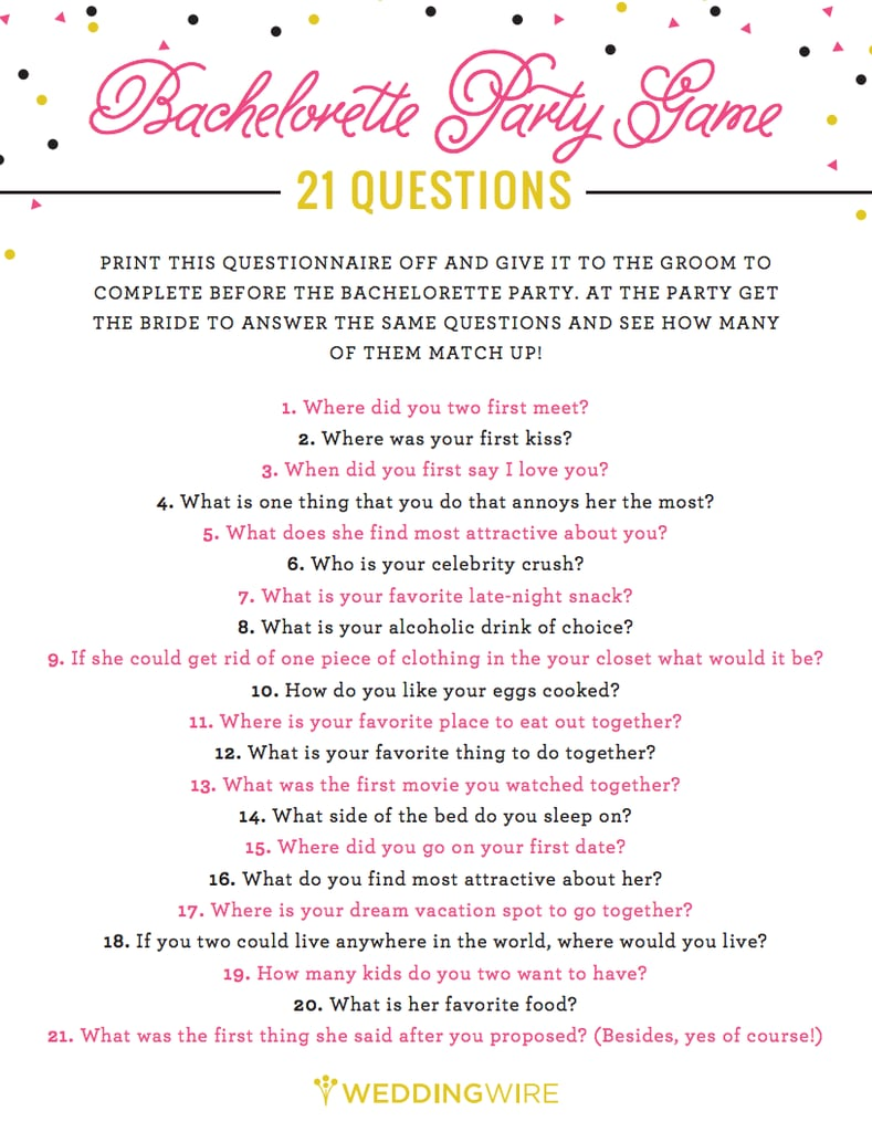 image about Printable Bachelorette Games titled 21 Thoughts Activity Free of charge Bachelorette Get together Printables