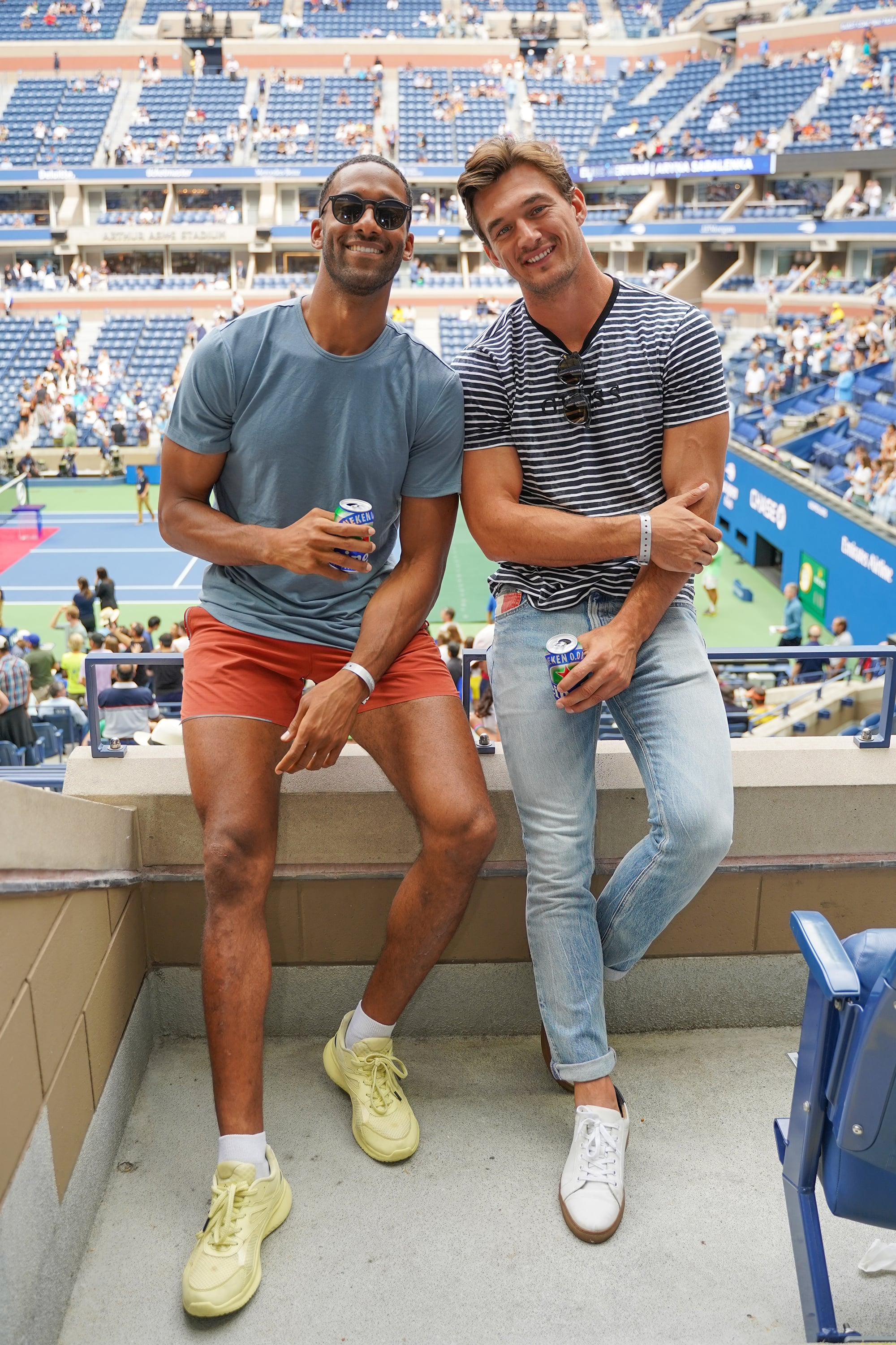 Matt James and Tyler Cameron stops by the Heineken suite at the U.S. Open in Flushing, NY, on September 08, 2019.