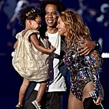 Jay Z and Beyoncé showed sweet PDA while joined by their daughter, Blue Ivy, on stage at the MTV VMAs.