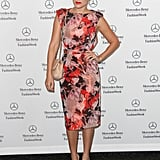 Lauren took New York Fashion Week by storm in September 2012 wearing a slew of feminine floral looks — she paired this gorgeous Badgley Mischka dress with a ballet bun and red lipstick. Lesson from Lauren: a floral sheath, nude pumps, and slick top knot are a winning combo.