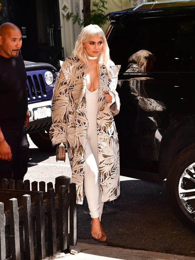 Kylie Jenner Wearing an Off-White c/o Virgil Abloh Coat