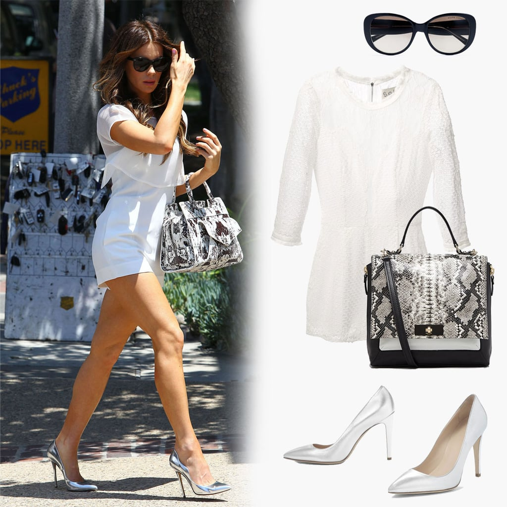 Steal Kate's easy outfit formula for afternoon cocktails or a night out with the girls. Just slip into a breezy Summer white playsuit and add the necessary accoutrements, namely a pair of high-wattage pumps and a chic exotic satchel.  Shop the look below, then shop similar rompers when you keep scrolling:  Sea Embroidered Playsuit ($983) Ralph Lauren Oversized Spectator Sunglasses ($160) Kate Spade Beverly Road Abbie Snake Satchel ($448) Club Monaco Jamie Metallic Pumps ($329)