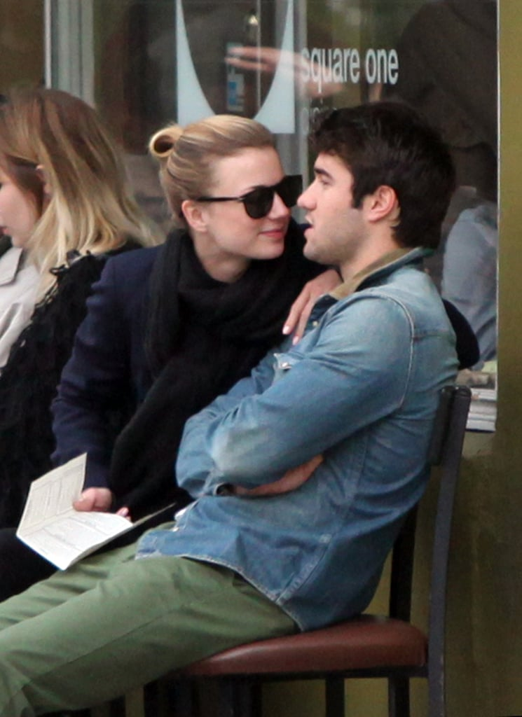 Emily VanCamp and Joshua Bowman Kick Off Their Brunch With a Kiss