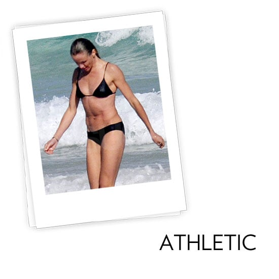 Athletic: You're more straight up and down and have fewer curves, like Cameron Diaz, Jessica Biel, and Jennifer Aniston. What to look for: The name of the game is playing up your curves with styles that flaunt your frame. Suits with less coverage help to create the illusion of a shapelier figure. Tips and tricks from Audrey Jimenez, fit and style expert for Everything But Water:  Tops or bottoms with bold prints, ruffles, and embellishments add intrigue and feminine flair and can create the appearance of more curve at top and bottom. Monokinis create fabulous curves. The smaller the swimsuit bottom, the fuller and curvier the derriere appears. Tie-side bikini bottoms enhance curves and adjust perfectly to your size.  In this photo: Cameron Diaz