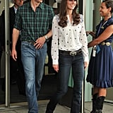 Temperley/Goldsign in Calgary: When it comes to more casual attire, Kate rocked the cowgirl look in Goldsign's 'Passion' bootcut jeans and the 'Armonia' shirt from Temperley. The Duchess accessorised with a brown leather belt set with turquoise from Butler and Wilson, R Soles 'Vegas Setter' boots, and gold leaf Vinnie Day 'Logo' earrings.