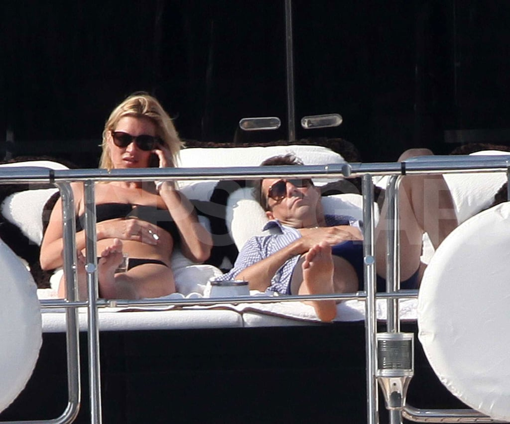 Kate Moss and Jamie Hince relaxed on the yacht's deck.