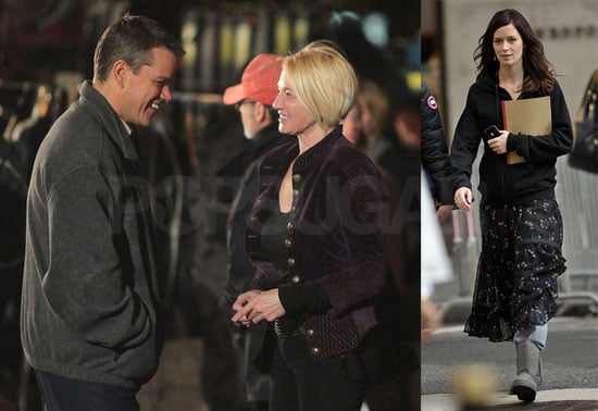 Photos of Matt Damon, Who's Making an Appearance on Entourage, Filming the Adjustment Bureau With Emily Blunt and Ellen Barkin