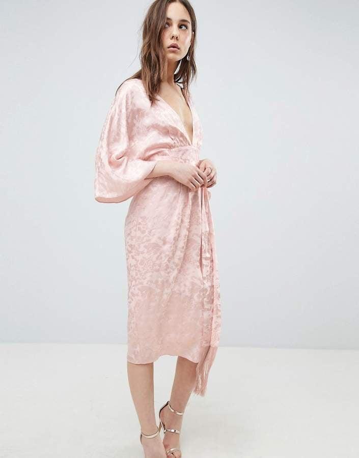 b44fa337962 Asos Soft Jacquard Kimono Dress With Fringe Belt