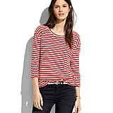 This version captures the classic vibe with its easy fit and simply done stripes that come in red or blue.  Madewell Pencil-Stripe Pullover ($58)
