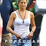 Jennifer Aniston wore denim shorts on the set of We're the Millers.