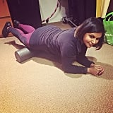 Mindy knows athletes foam roll.