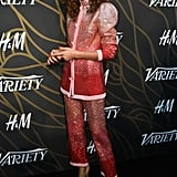 During the Variety Power of Young Hollywood event in 2017, Zendaya wore a sparkly suit by  Vivetta.