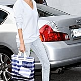 Taylor Tomasi Hill traded her heels for studded sneakers and embellished denim.