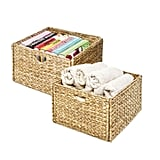 Seville Classics Foldable Handwoven Water Hyacinth Cube Storage Basket (2-Pack)