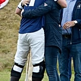 Harry greeted his cousin Zara Phillips at the Gigaset Charity Polo Match at Beaufort Polo Club in 2015.