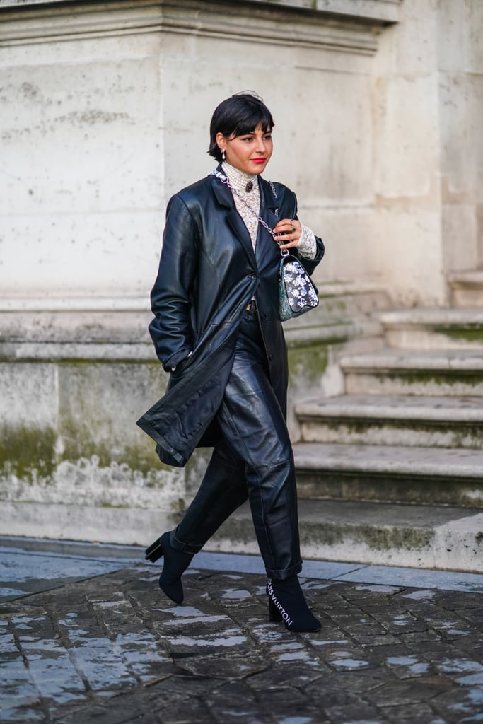 Leather Pants Outfit Idea: Leather Pants + Blazer