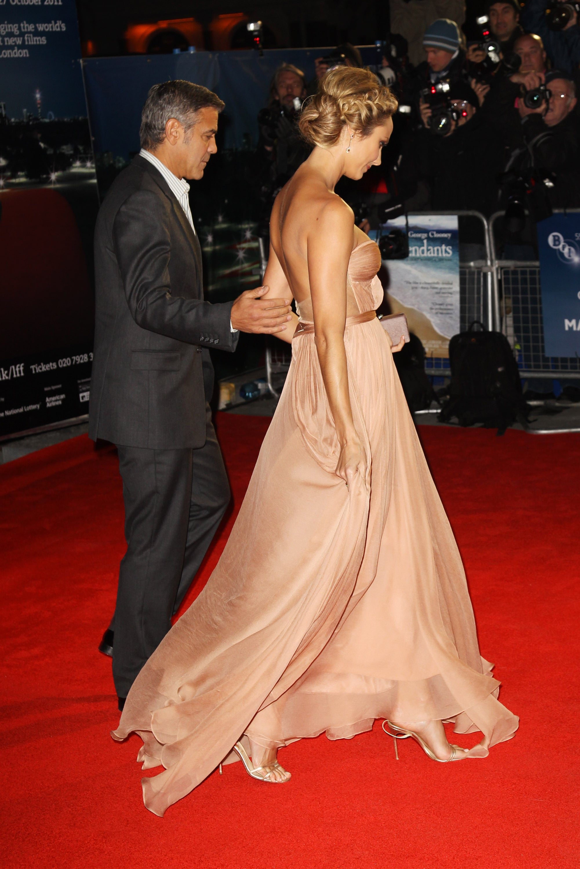 George Clooney and Stacy Keibler at The Descendants premiere in London.