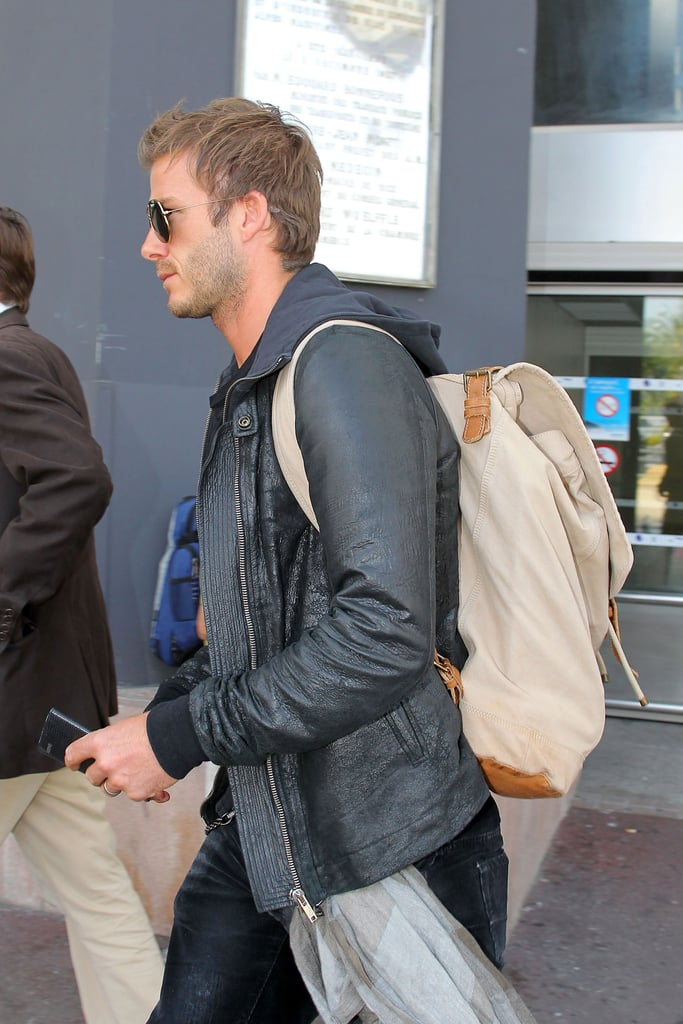 David Beckham Arriving at the Nice, France, Airport