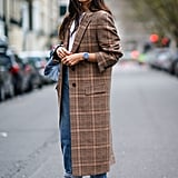 With a White Tee, a Long Check Coat, and Pretty Heels
