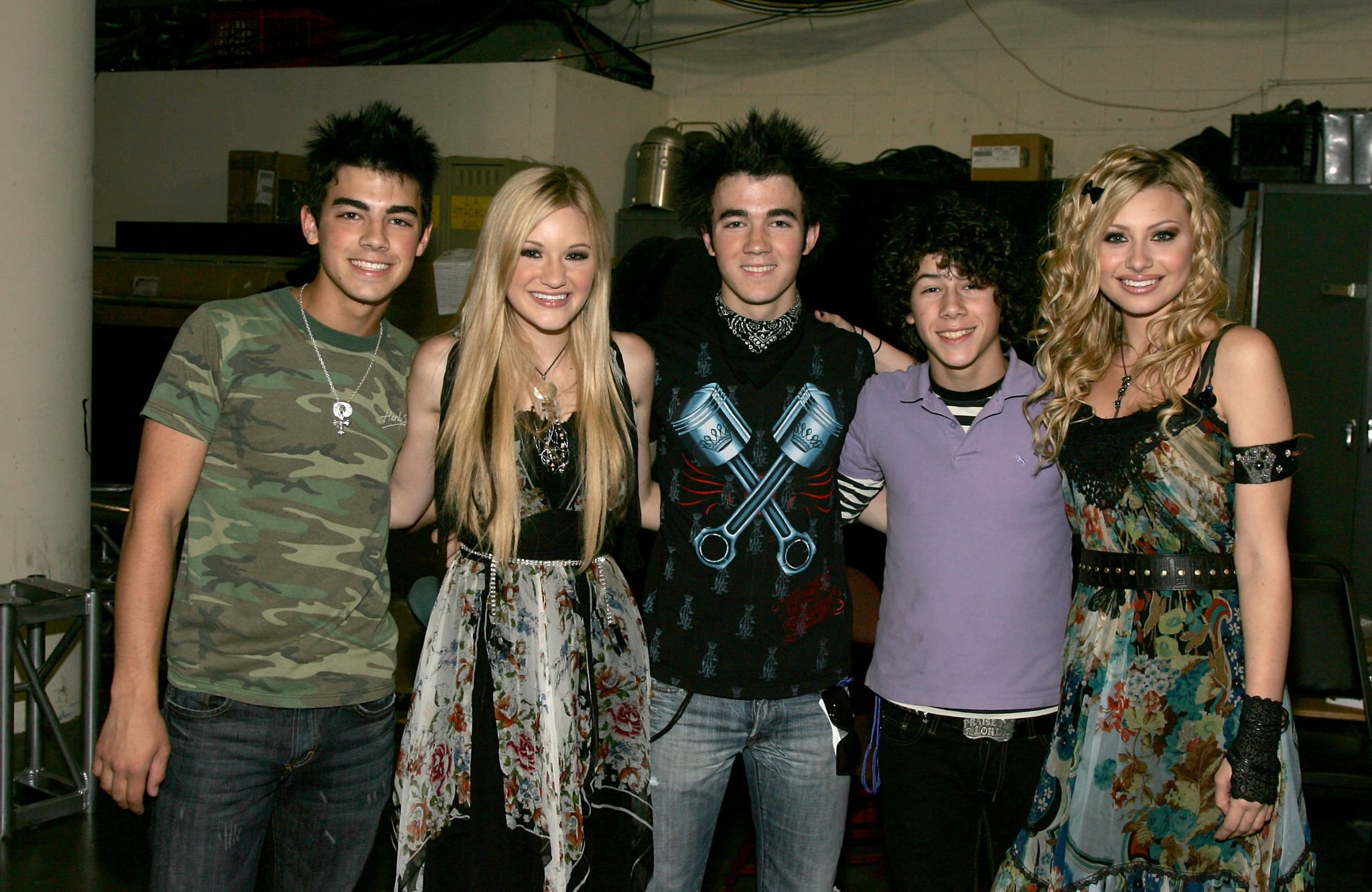 ANAHEIM, CA - JULY 22:  (L-R) Joseph Jonas, AJ Michalka, Kevin Jonas, Nicholas Jonas and Aly Michalka pose backstage at the Radio Disney Totally 10 Birthday Concert held at the Arrowhead Pond of Anaheim on July 22, 2006 in Anaheim, California.  (Photo by Frazer Harrison/Getty Images for Radio Disney)