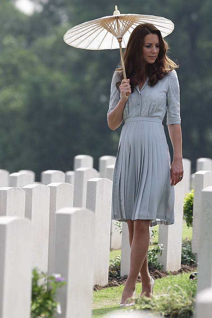 How gorgeous is this shot of Kate? She wore a lace-embellished Jenny Packham dress to tour Singapore's Commonwealth War Cemetery.