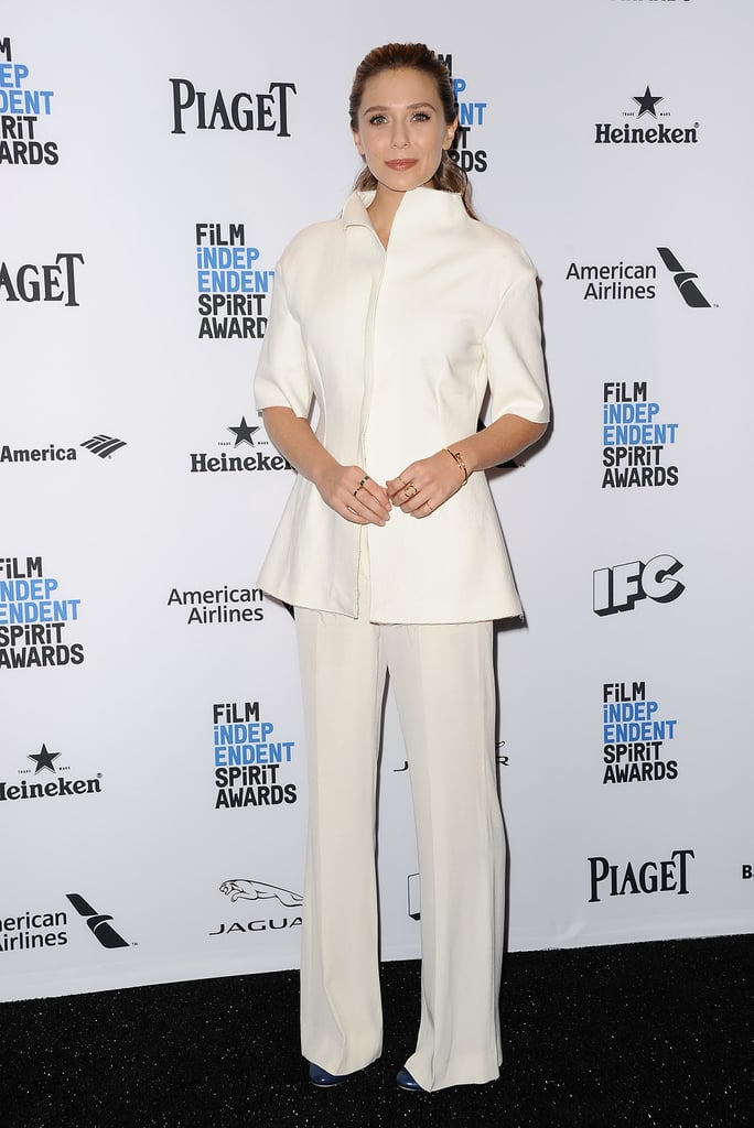 She Wore This Modern Suit to the 2016 Film Independent Spirit Awards Press Conference
